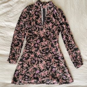 Long-Sleeve Honey Punch Floral Flare Dress